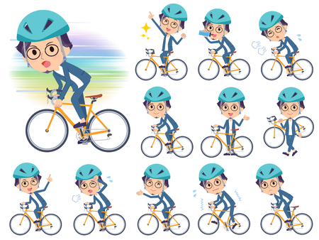A set of men on a road bike.There is an action that is enjoying.Its vector art so its easy to edit.