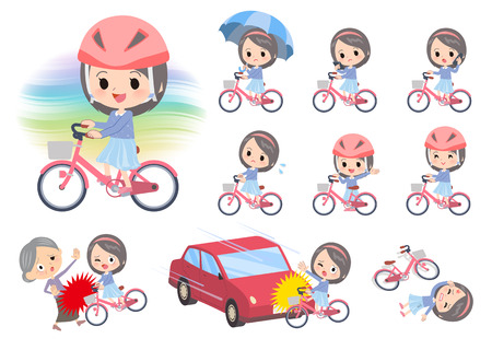 A set of girl riding a city cycle.There are actions on manners and troubles.It's vector art so it's easy to edit.