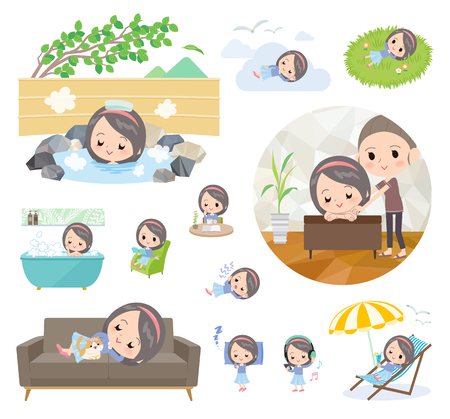 A set of girl about relaxing. There are actions such as vacation and stress relief. It's a vector art so it's easy to edit.