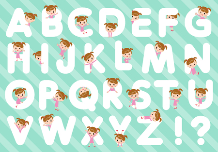 A set of girl designed with alphabet.Characters with fun expressions pose various poses.It's vector art so it's easy to edit.