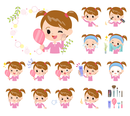 A set of girl on beauty.There are various actions such as skin care and makeup.Its vector art so its easy to edit.