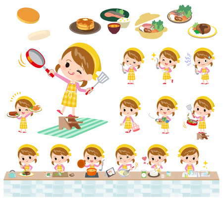 A set of girl about cooking.There are actions that are cooking in various ways in the kitchen.Its vector art so its easy to edit.