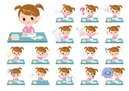 A set of girl on study.There are various emotions and actions.It's vector art so it's easy to edit.