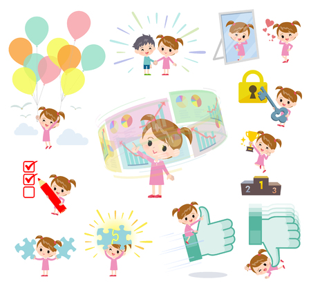 A set of girl on success and positive.There are actions on business and solution as well.It's vector art so it's easy to edit.