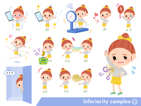 A set of girl on inferiority complex.There are actions suffering from smell and appearance.Its vector art so its easy to edit.