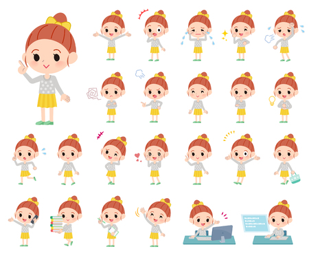 A set of girl with who express various emotions.There are actions related to workplaces and personal computers.It's vector art so it's easy to edit.