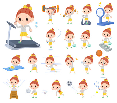 A set of girl on exercise and sports.There are various actions to move the body healthy.It's vector art so it's easy to edit.
