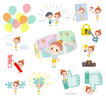 A set of girl on success and positive.There are actions on business and solution as well.Its vector art so its easy to edit.