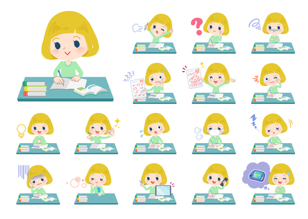 A set of Caucasian girl on study.There are various emotions and actions.Its vector art so its easy to edit.  Ilustração