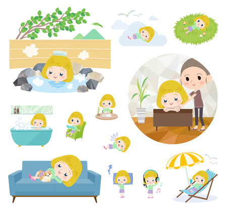 A set of Caucasian girl about relaxing.There are actions such as vacation and stress relief.Its vector art so its easy to edit.