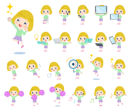 A set of Caucasian girl with digital equipment such as smartphones.There are actions that express emotions.Its vector art so its easy to edit.