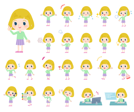A set of Caucasian girl with who express various emotions.There are actions related to workplaces and personal computers.Its vector art so its easy to edit.