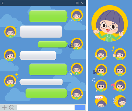 A set of girl with expresses various emotions on the SNS window.There are variations of emotions such as joy and sadness.It's vector art so it's easy to edit.