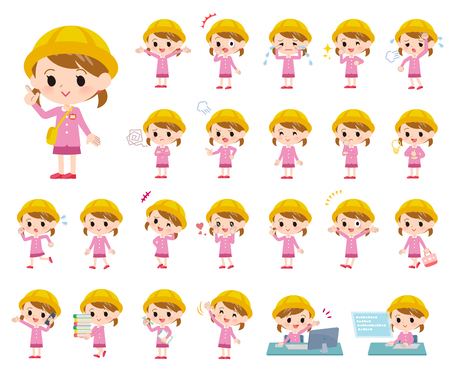 A set of Nursery school girl with who express various emotions.There are actions related to workplaces and personal computers.It's vector art so it's easy to edit.