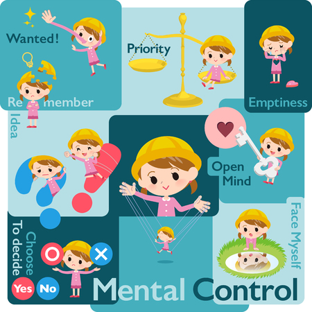 A set of Nursery school girl who control emotions.A variety of image illustrations expressing self emotion.It's vector art so it's easy to edit.