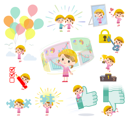 A set of Nursery school girl on success and positive.There are actions on business and solution as well.Its vector art so its easy to edit.