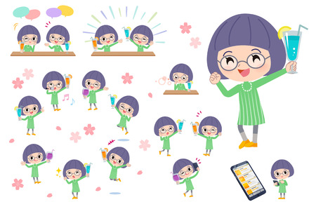 A set of girl on a drink party. There is a lively action..It's vector art so it's easy to edit. Illustration