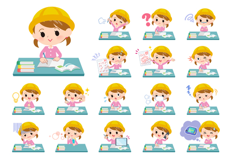 A set of Nursery school girl on study.There are various emotions and actions.Its vector art so its easy to edit.  Ilustração