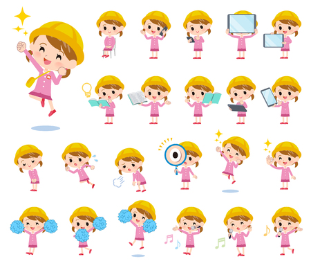 A set of Nursery school girl with digital equipment such as smartphones.There are actions that express emotions.Its vector art so its easy to edit.  Ilustração