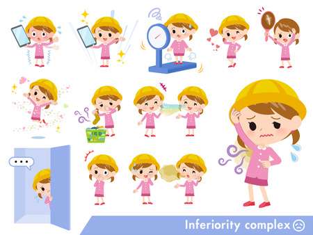 A set of Nursery school girl on inferiority complex.There are actions suffering from smell and appearance.Its vector art so its easy to edit.