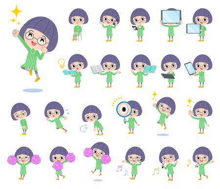 A set of girl with digital equipment such as smartphones.There are actions that express emotions.Its vector art so its easy to edit.  Ilustração