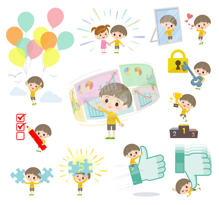 A set of boy on success and positive.There are actions on business and solution as well.Its vector art so its easy to edit.