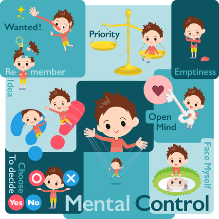 A set of boy who control emotions.A variety of image illustrations expressing self emotion.Its vector art so its easy to edit.