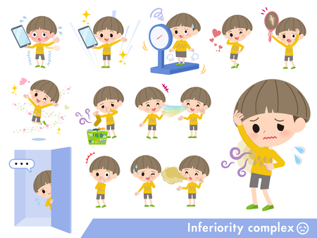 A set of boy on inferiority complex.There are actions suffering from smell and appearance.Its vector art so its easy to edit.