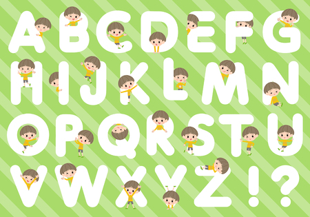 A set of boy designed with alphabet.Characters with fun expressions pose various poses.It's vector art so it's easy to edit.