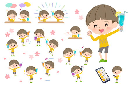 A set of boy on a drink party. There is a lively action..Its vector art so its easy to edit.