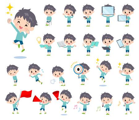 Un set di ragazzo con attrezzatura digitale come smartphone.Ci sono azioni che esprimono emozioni.È arte vettoriale quindi è facile da modificare.