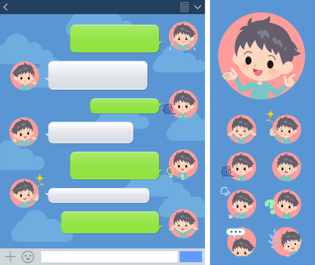 A set of boy with expresses various emotions on the SNS window.There are variations of emotions such as joy and sadness.Its vector art so its easy to edit.