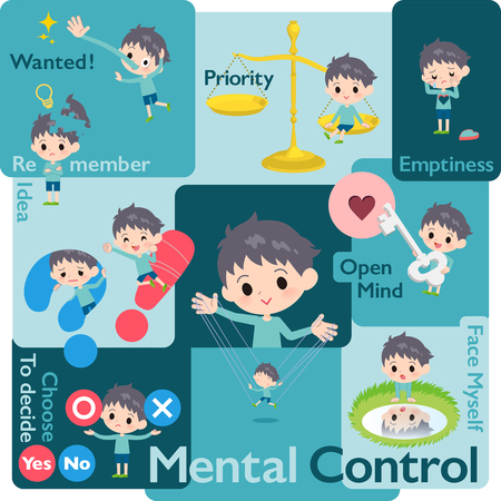 Un ensemble de garçons qui contrôlent les émotions. Une variété d'illustrations d'images exprimant l'émotion de soi. C'est de l'art vectoriel, il est donc facile à modifier.