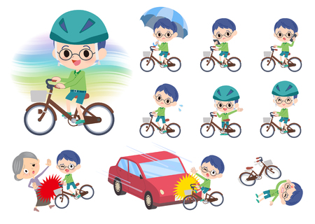A set of boy riding a city cycle.There are actions on manners and troubles.Its vector art so its easy to edit. Ilustração