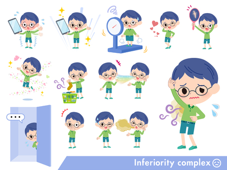A set of boy on inferiority complex.There are actions suffering from smell and appearance.It's vector art so it's easy to edit.