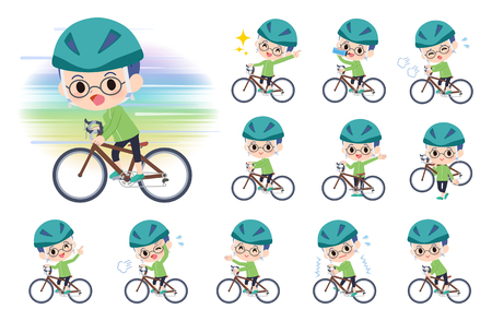 A set of boy on a road bike.There is an action that is enjoying.Its vector art so its easy to edit.