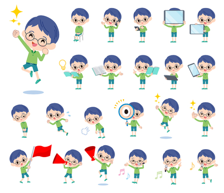 A set of boy with digital equipment such as smartphones.There are actions that express emotions.Its vector art so its easy to edit.