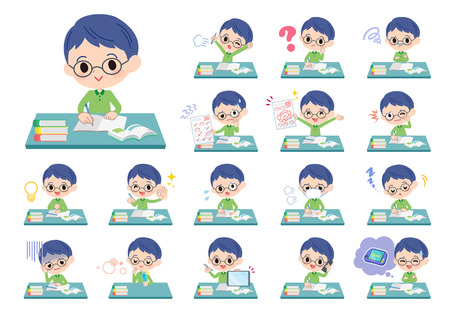A set of boy on study.There are various emotions and actions.Its vector art so its easy to edit.