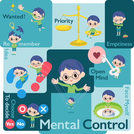A set of boy who control emotions.A variety of image illustrations expressing self emotion.Its vector art so its easy to edit. Stock Illustratie
