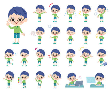 A set of boy with who express various emotions.There are actions related to workplaces and personal computers.Its vector art so its easy to edit.