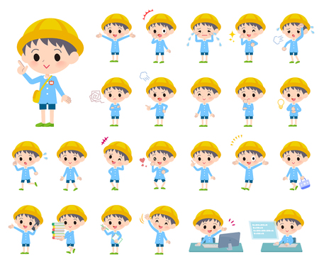 A set of Nursery school boy with who express various emotions.There are actions related to workplaces and personal computers.It's vector art so it's easy to edit.