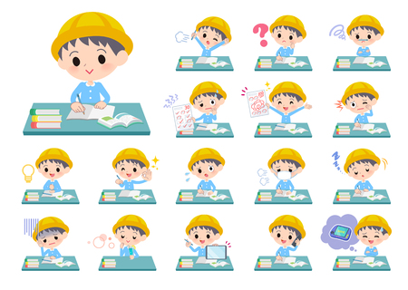 A set of Nursery school boy on study.There are various emotions and actions.Its vector art so its easy to edit. Ilustração