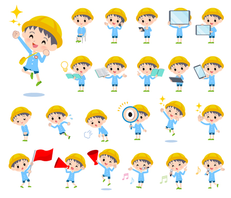 A set of Nursery school boy with digital equipment such as smartphones.There are actions that express emotions.Its vector art so its easy to edit.