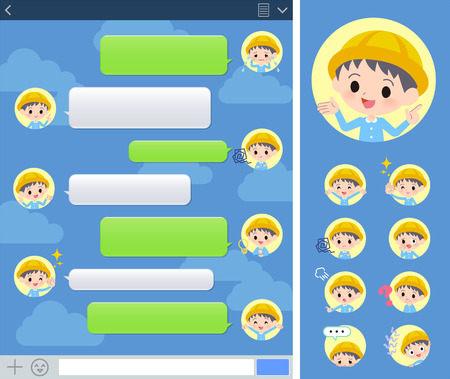 A set of Nursery school boy with expresses various emotions on the SNS window.There are variations of emotions such as joy and sadness.It's vector art so it's easy to edit.