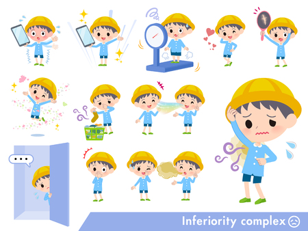 A set of Nursery school boy on inferiority complex.There are actions suffering from smell and appearance.Its vector art so its easy to edit. Çizim