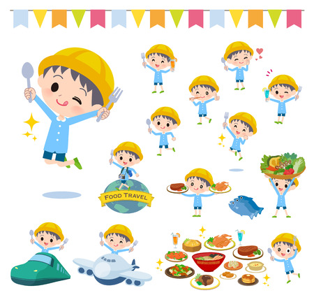 A set of Nursery school boy on food events.There are actions that have a fork and a spoon and are having fun.It's vector art so it's easy to edit. Vetores