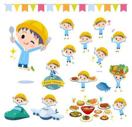 Un insieme di ragazzo della scuola materna su eventi alimentari. Ci sono azioni che hanno una forchetta e un cucchiaio e si divertono. È arte vettoriale, quindi è facile da modificare. Vettoriali