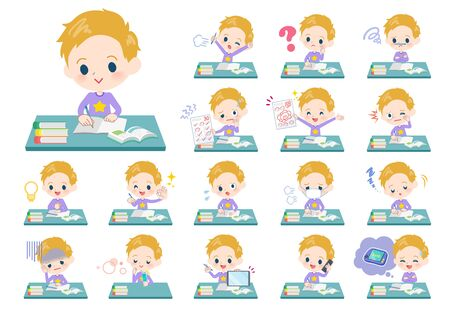 A set of boy Caucasian on study.There are various emotions and actions.Its vector art so its easy to edit.