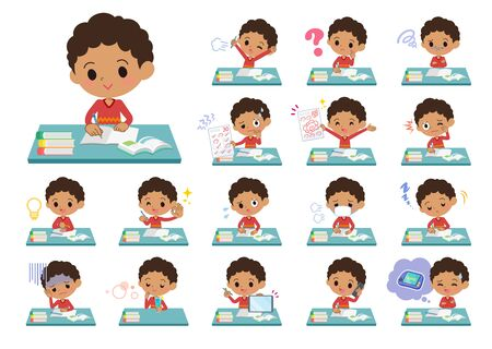 A set of boy on study.There are various emotions and actions.It's vector art so it's easy to edit.