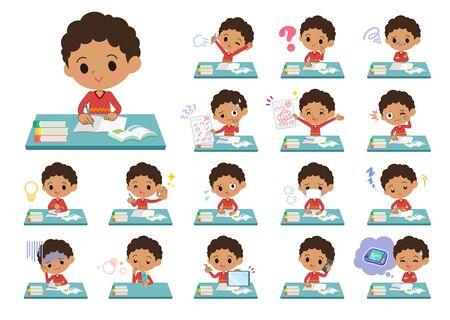 Un ensemble de garçon à l'étude. Il existe diverses émotions et actions. C'est de l'art vectoriel, il est donc facile à modifier.